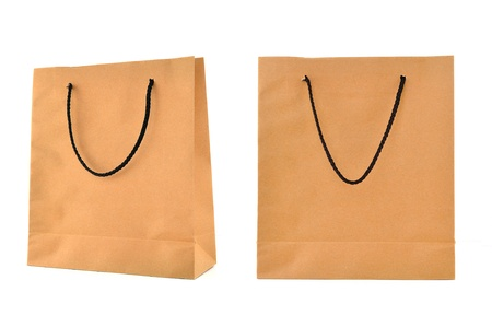 Paper bag isolated on white  photo