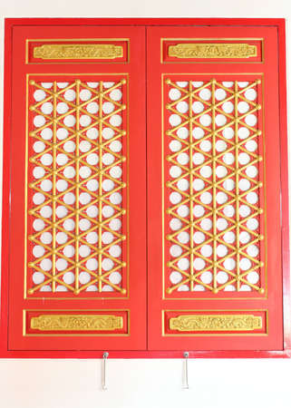 The red window with gold texture in chinese style. photo