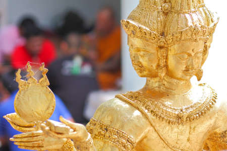 Old golden brahma in Bang Pra temple, Thailand. Stock Photo - 7438970