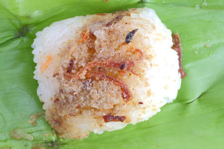 suger: Fish and suger on sticky rice. Thai style sweet desserts.  Stock Photo