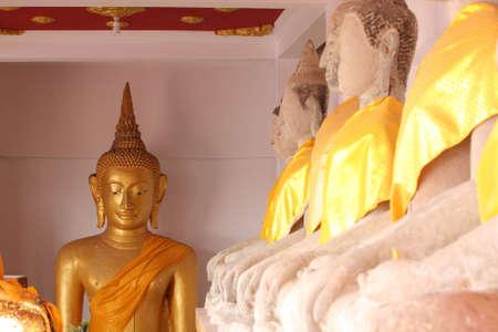 ratchaburi: The old golden monk, Ratchaburi province, Thailand. Stock Photo