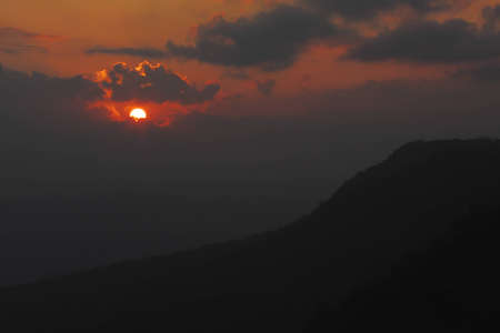 Sunrise with tableland at Phu Gra Duang Nation Park, Loei, Thailand. photo