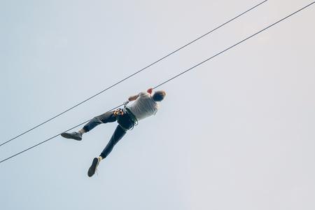 Adult Man Zip Line Adventure Imagens