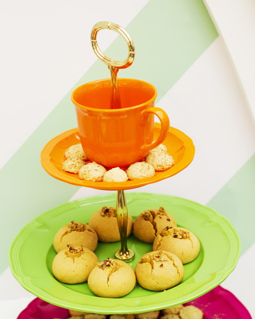 Sweet foods on dish background photo