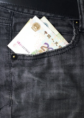 pocket money: money bank note in pocket money jeans Stock Photo