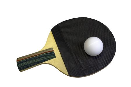 table tennis black racket and ball isolated on white background