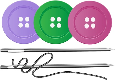 Needle and Thred and three buttons, all editable  Vector