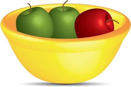Manzanas en un tazón Ilustración de vector