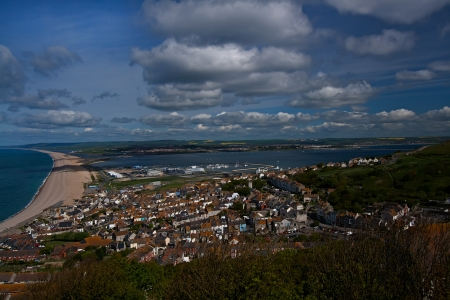 personalised: View over Chesil beach in Portland,Dorset,UK