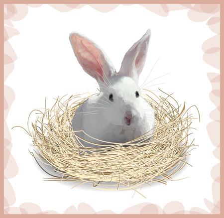 hay: Little rabbit on the hay. Illustration