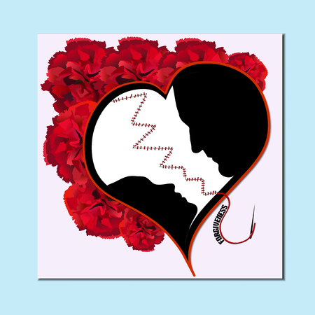 sincere: Postcard for Valentines Day Illustration