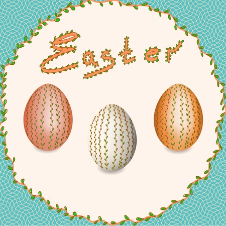 risen christ: Easter. Easter eggs. Christ is Risen. Easter eggs with floral pattern.