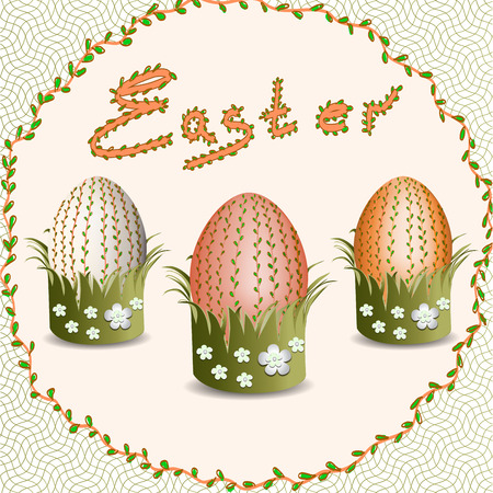 risen: Easter. Easter eggs. Christ is Risen.  Easter eggs with floral pattern.