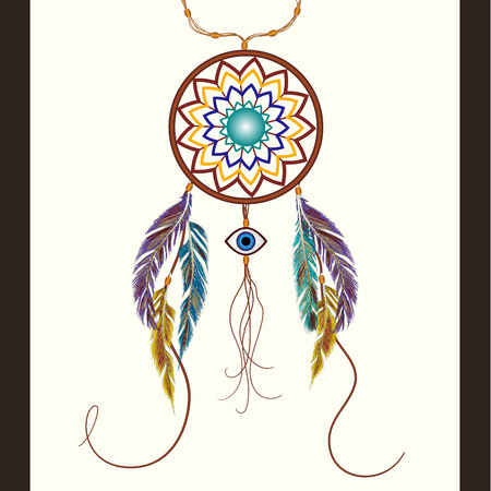 eye catcher: Dreams catcher with decorative feathers. Amulet against the evil eye. Boho style. Indian amulet.