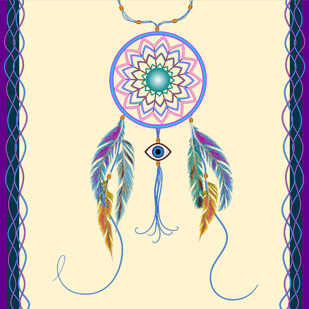evil eye: Dreams catcher with decorative feathers. Amulet against the evil eye. Boho style. Indian amulet.