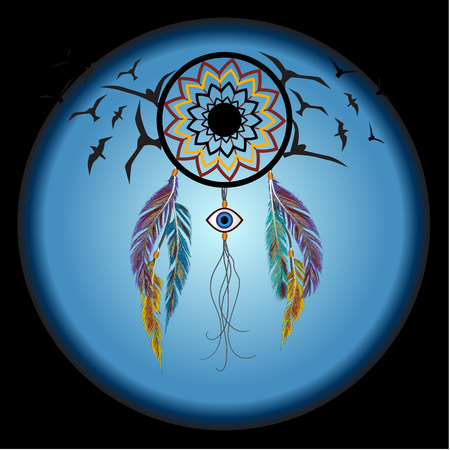 evil eye: Dreams catcher with decorative feathers and birds. Amulet against the evil eye. Boho style. Indian amulet.