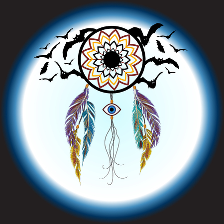 eye catcher: Dreams catcher with decorative feathers and bats. Amulet against the evil eye. Boho style. Indian amulet. Illustration