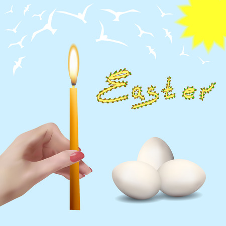 Easter. Easter eggs. Church candles. The spring sky with birds.