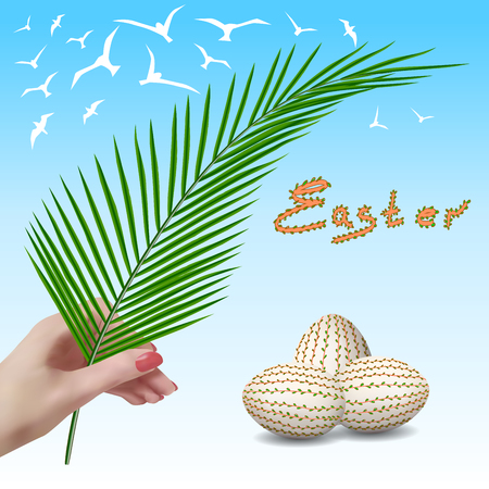 Easter. Easter branch. Palm branch. Palm Sunday. Easter eggs. Easter eggs with floral pattern. The spring sky with birds.