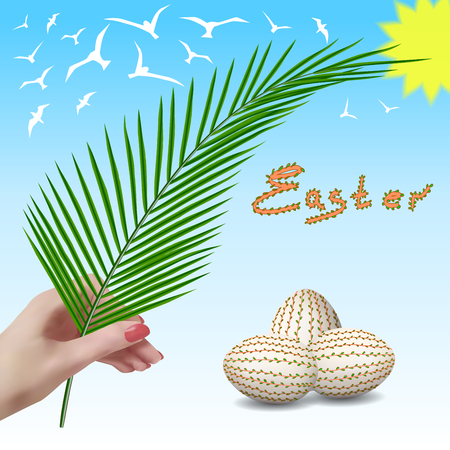 palm trees silhouette: Easter. Easter branch. Palm branch. Palm Sunday. Easter eggs. Easter eggs with floral pattern. The spring sky with birds.