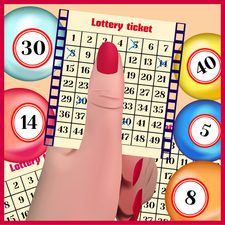 loteria: The lottery ticket in a hand. Lottery balls. Vectores
