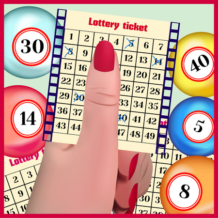 The lottery ticket in a hand. Lottery balls. Ilustracja