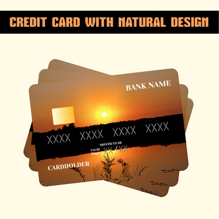 individual color: Credit card. Credit card with individual design (sunset). Illustration