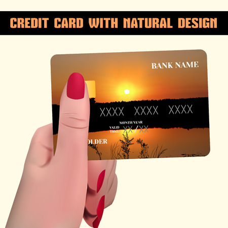 individual color: Credit card. Credit card in hand. Credit card with individual design (sunset). Illustration