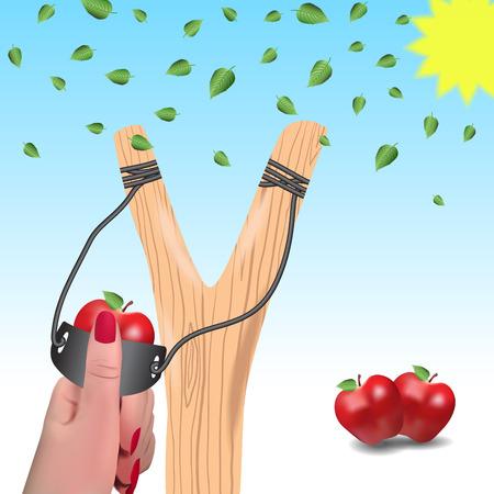 frise: Slingshot against a background of falling leaves.Slingshot in a female hand.Apples instead of bullets. Illustration