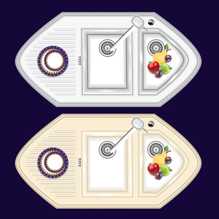 The kitchen sink is made of metal and stone. Kitchen sink with overhead attachment and extra bowl for washing fruits (colander). Ilustracja