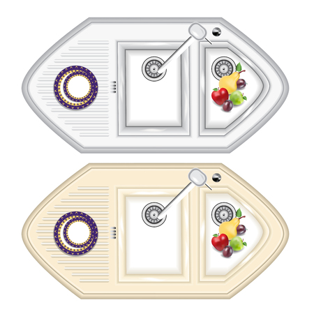 kitchen sink: The kitchen sink is made of metal and stone. Kitchen sink with overhead attachment and extra bowl for washing fruits (colander). Illustration