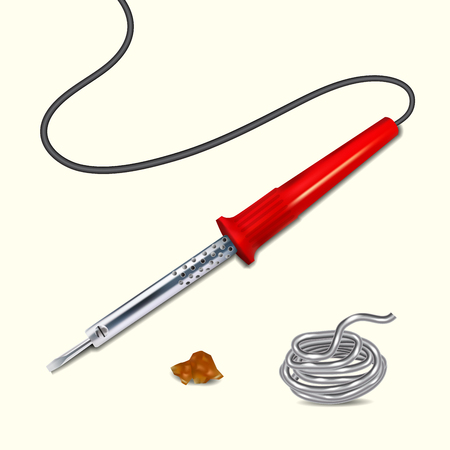 tin: Soldering iron with a red handle. Tin solder, rosin. Illustration