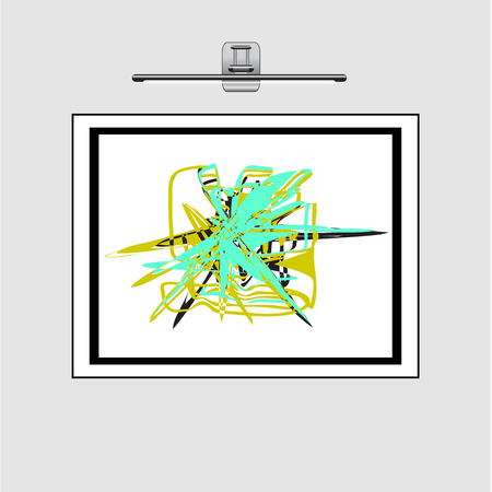 Abstract geometrical ornament from turquoise, green, black color. Abstract drawing in a frame on a wall under a silver lamp. Ilustracja