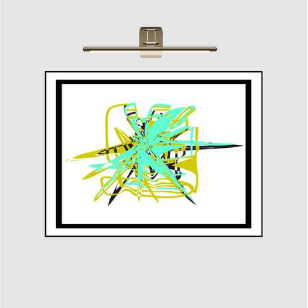 Abstract geometrical ornament from turquoise, green, black color. Abstract drawing in a frame on a wall under a gold lamp.