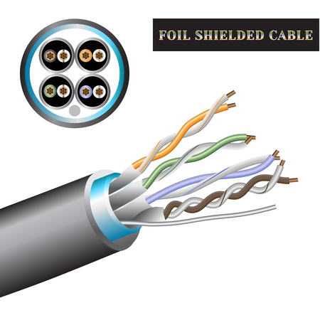 Cable structure twisted pair. Foil shielded cable. 向量圖像