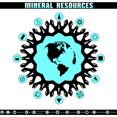 Earth Day. Destruction of mineral reserves. Infographics. Ecological problems. The depletion of the Earths resources. Ilustracja