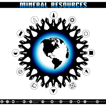 depletion: Earth Day. Destruction of mineral reserves. Infographics. Ecological problems. The depletion of the Earths resources. Illustration