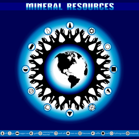depletion: Earth Day. Destruction of mineral reserves. Infographics. Ecological problems. The depletion of the Earths resources. Illustration