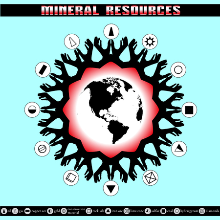 reserves: Earth Day. Destruction of mineral reserves. Infographics. Ecological problems. The depletion of the Earths resources. Illustration
