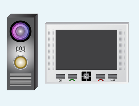 Intercom. Video intercom. The monitor and the outdoor panel with a video camera. Intercom system with a guest with a video call. The device has an electromagnetic or electromechanical lock. The device is equipped with a speakerphone. Illustration