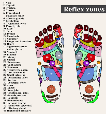 Punti di agopuntura sui piedi. Le zone di riflesso sui piedi. Agopuntura. Medicina cinese.