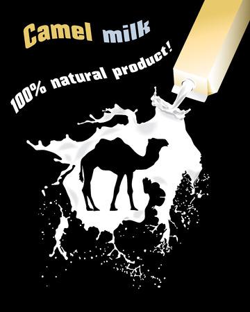 Camel milk. Advertising camel milk. 100% natural product.