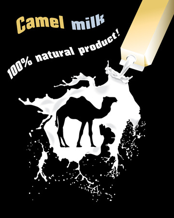bottling: Camel milk. Advertising camel milk. 100% natural product.
