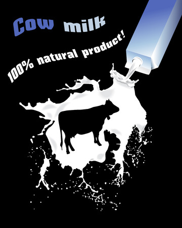 Cows milk. Advertising cows milk. 100% natural product. Ilustracja