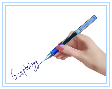 Graphology. The science studying character of the person on handwriting. Handwriting studying. Ilustracja