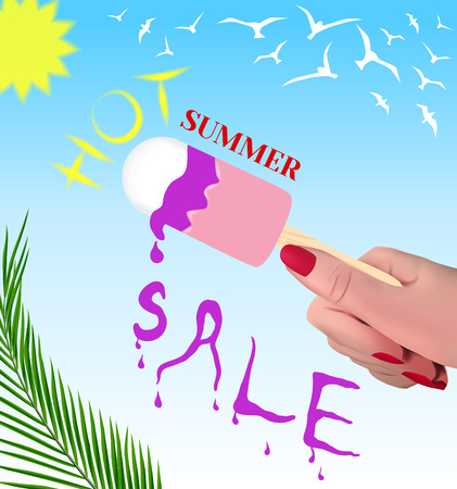 Advertising poster. Hot summer sale.