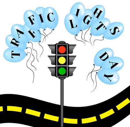 Traffic light`s day. International holiday. Illustration