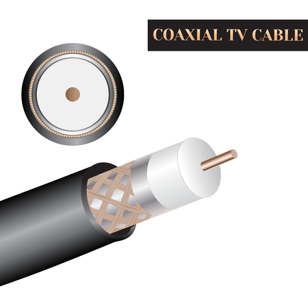 Coaxial TV cable structure. Kind of an electric cable. Zdjęcie Seryjne - 62198632