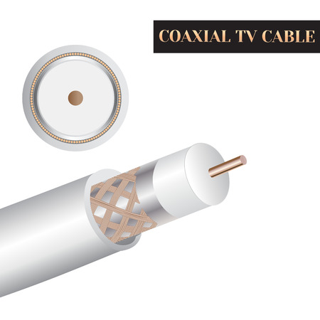 Coaxial TV cable structure. Kind of an electric cable. Zdjęcie Seryjne - 62198644