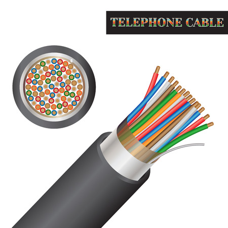 Telephone cable structure. Kind of an electric cable. Illustration